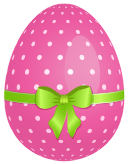 Pink_Dotted_Easter_Egg_with_Green_Bow_PNG_Clipart
